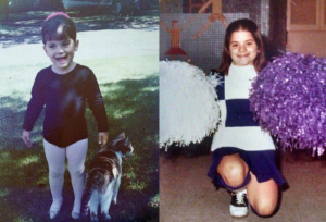 young girl in a ballet outfit, smiling and looking excited, then same girl several years later, posed on one knee, wearing a cheerleading outfit and holding pom-poms