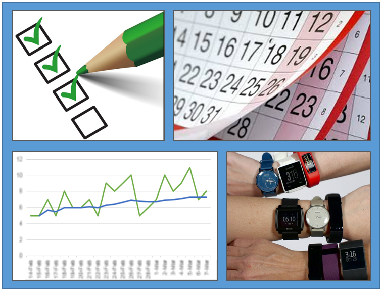 checkboxes and a pencil, several calendar pages, line graph with a trend going up, and wrists covered in various fitness trackers